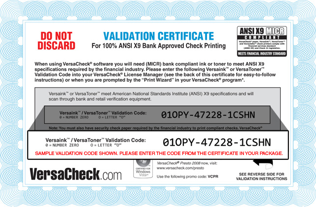 Ink Validation Certificate